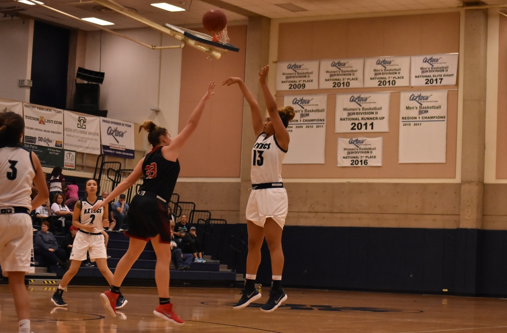 Sophomore Aubre Fortner scored 10 of her 13 points in the fourth quarter as  the No. 6 ranked Aztecs women's basketball team beat Chandler-Gilbert Community College 83-46. The Aztecs improved to 17-4 overall and 11-2 in ACCAC conference play. Photo by Ben Carbajal