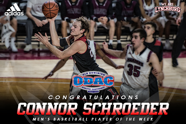 Connor Schroeder shoots the basketball at Roanoke college. Text: Congratulations Connor Schroeder | men's basketball player of the week