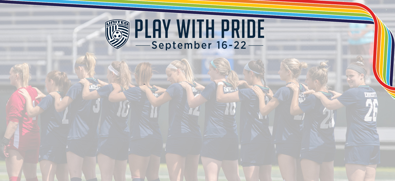 Graphic of the Play With Pride rainbow lace over a picture of the Endicott women's soccer team's starting lineup.