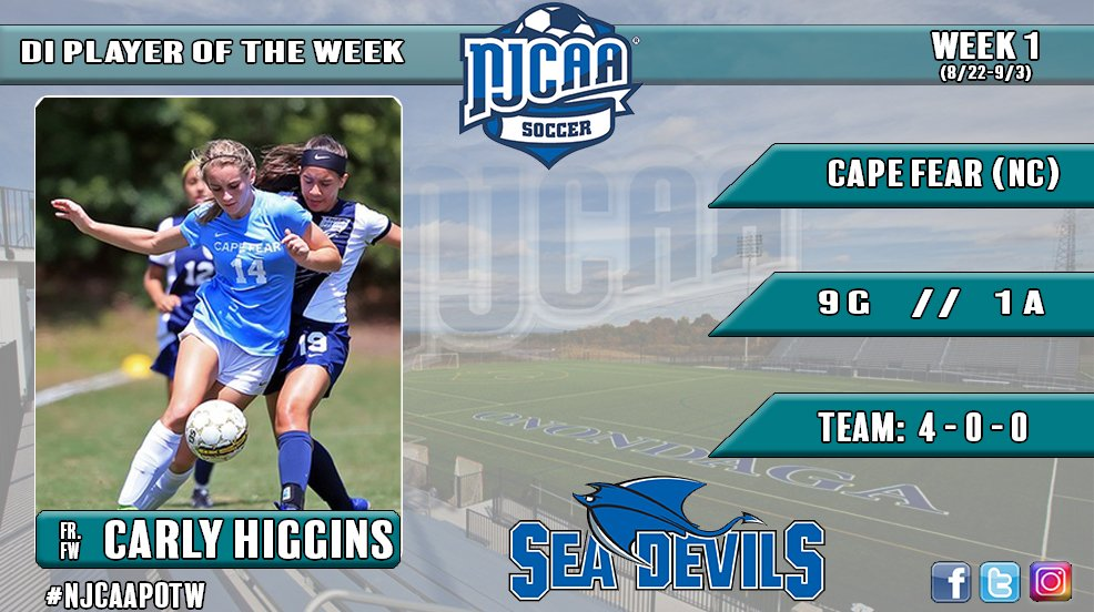 Carly Higgins Named NJCAA Player of the Week