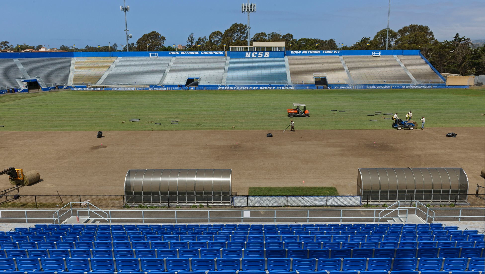 Harder Stadium is currently undergoing renovations as UCSB prepares to host the 2018 College Cup in December. (Photo by Tony Mastres)