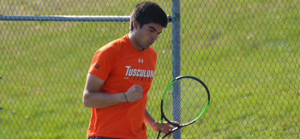 Gabriel Yaguar clinched the winning point at No. 6 singles to rally Tusculum to a 5-4 win over Young Harris