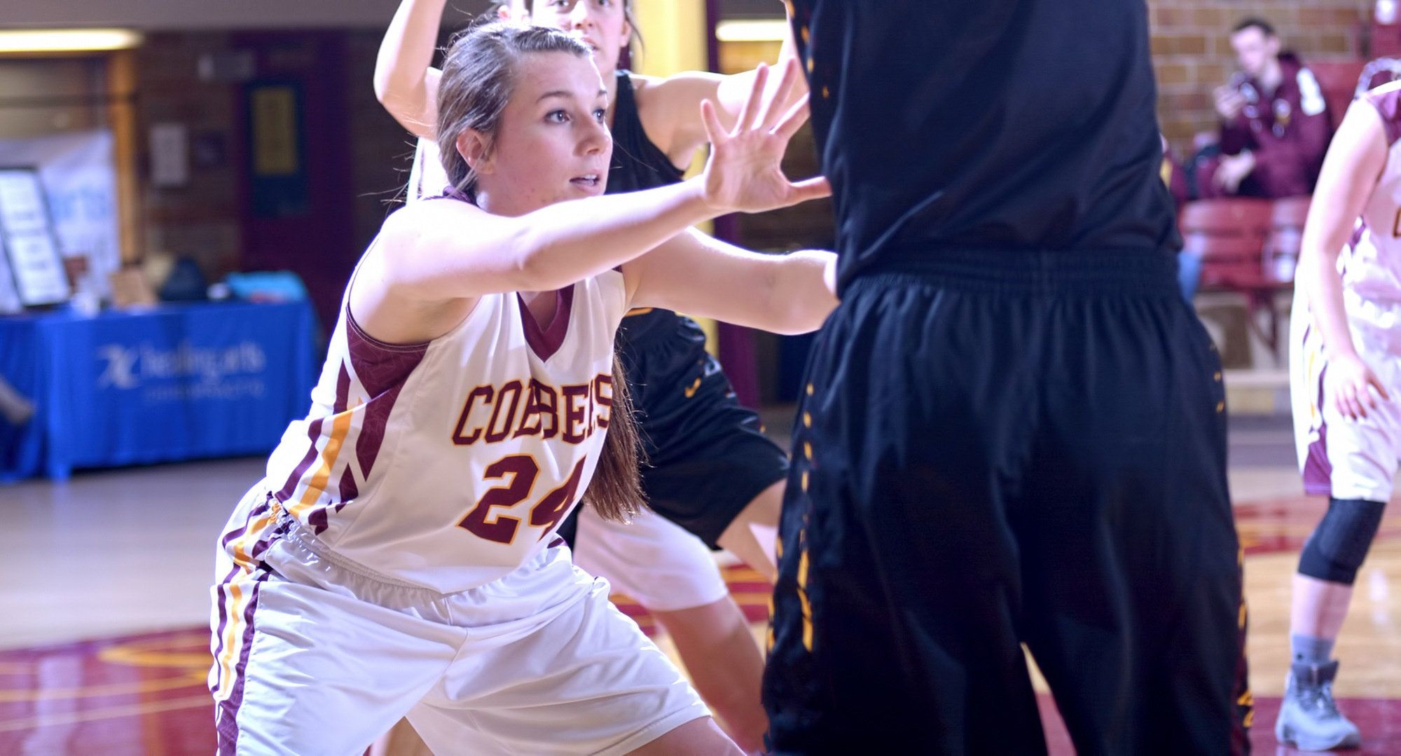 Senior Cassidy Rahman had team highs in points and rebounds in the Cobbers' contest at Gustavus.