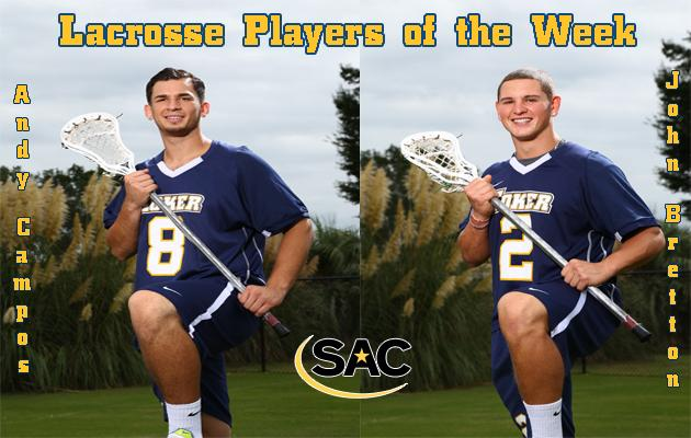 Coker's Campos and Bretton Sweep Inaugural SAC Lacrosse Weekly Awards