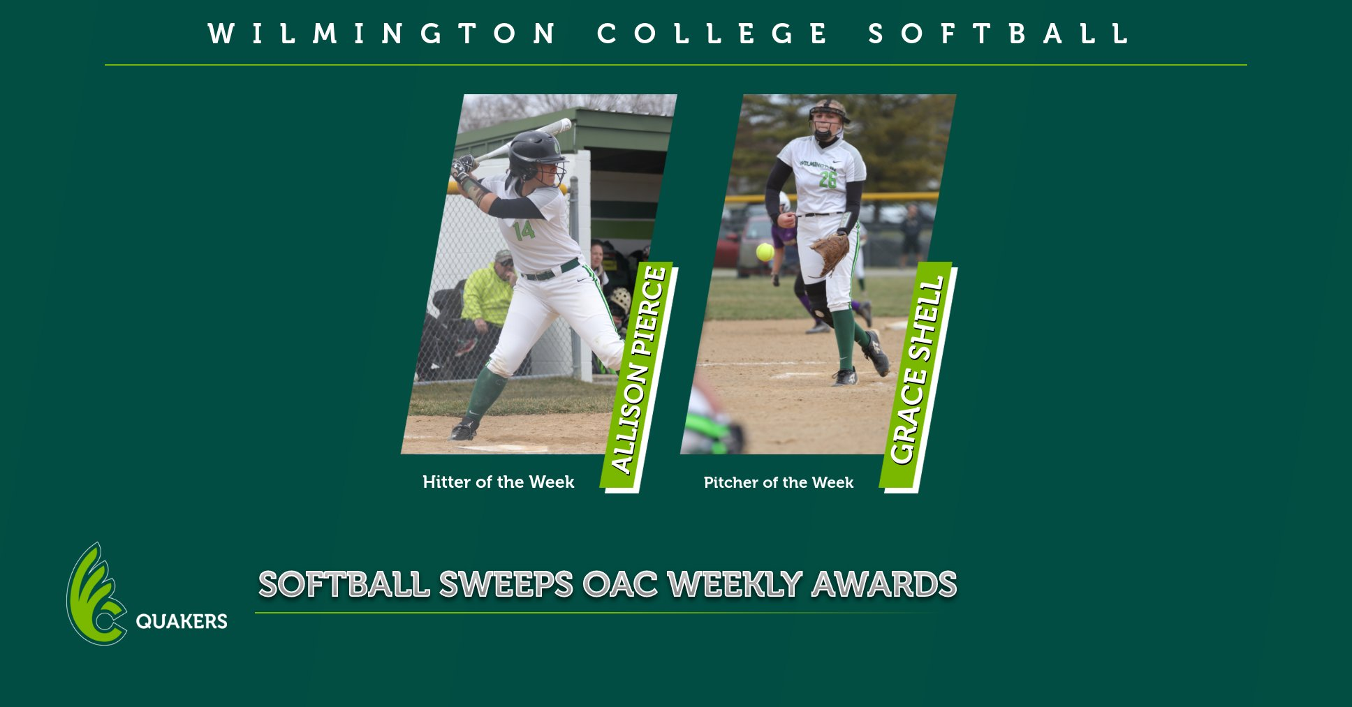Softball Sweeps OAC Weekly Awards