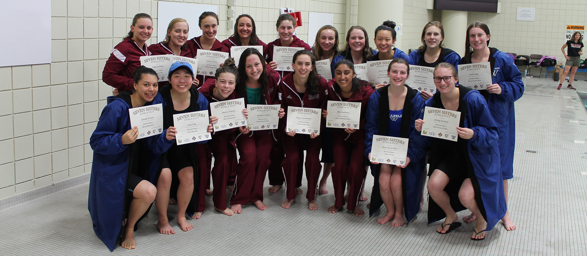 Photo showing the members of the 2018 Seven Sisters Swimming & Diving All-Tournament Team. January 21, 2018.