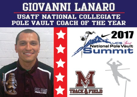 Giovanni Lanaro was named the USATF National Collegiate Pole Vault Coach of the Year.