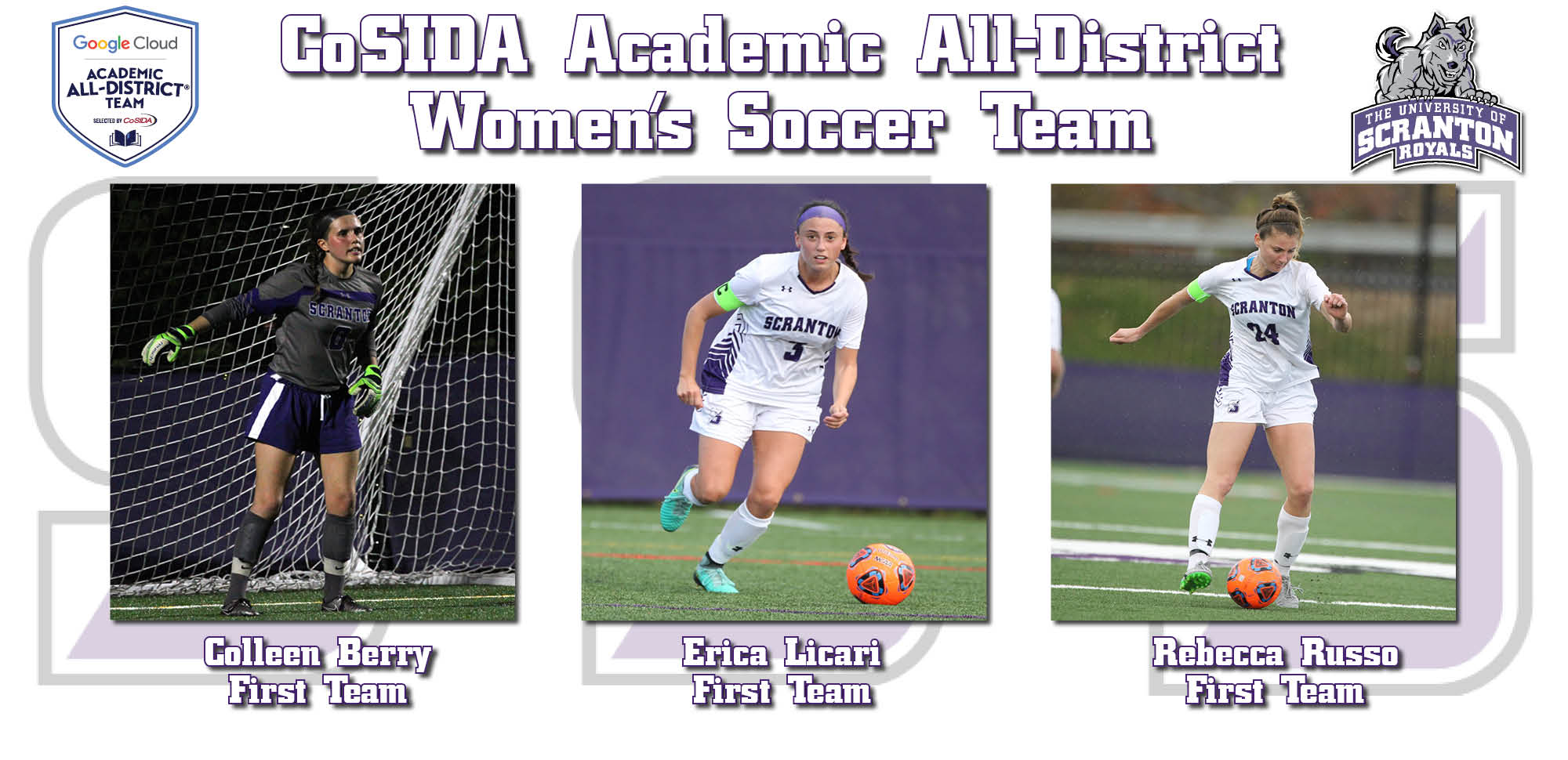 Berry, Licari, and Russo Selected to CoSIDA Academic All-District Team
