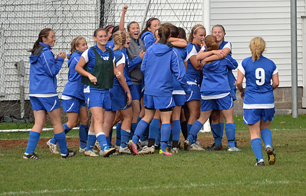 Monks celebrate 1-0 win over Lasell College - photo courtesy of Lasell SID Office