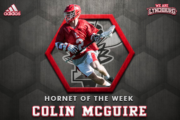 Colin McGuire running with a lacrosse stick. Text: Hornet of the Week Colin Mcguire