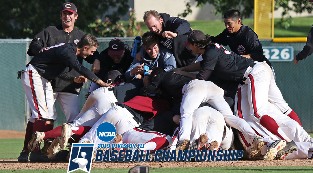 The Chapman baseball team dog piles after winning the NCAA Regional round.