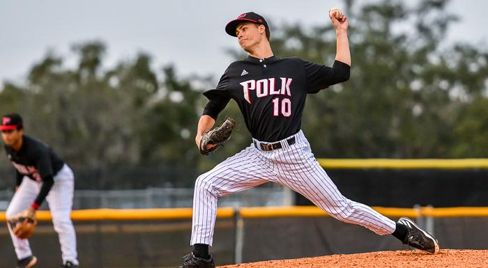 Reese Jackowiak, pitching against Broward College, allowed no hits in four shutout innings as the Eagles won their fourth straight game. (Photo by Tom Hagerty, Polk State.)