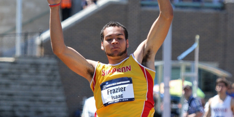 Frazier in 12th at halfway point of decathlon