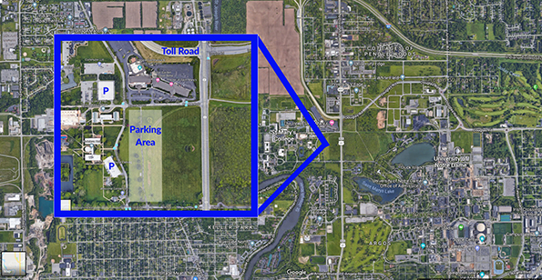 Aerial map image of Saint Mary's/Notre Dame area with a zoomed-in view of the east side of the Saint Mary's campus outlined in blue to highlight where football parking is located.