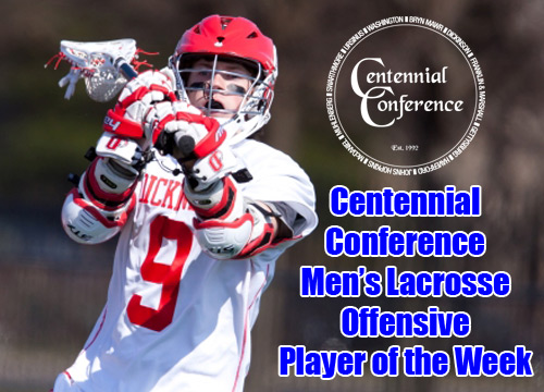 Sophomore Brian Cannon was named the Centennial Conference Men's Lacrosse Offensive Player of the Week<BR>