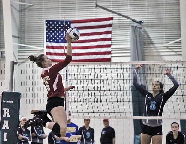 Stephanie Kipp attempts a kill in Friday's second match against Kalamazoo Valley. The freshman led the team with nine kills in that match, while producing 17 total for the day. Photo by Nicholas Huenefeld/Owens Sports Information