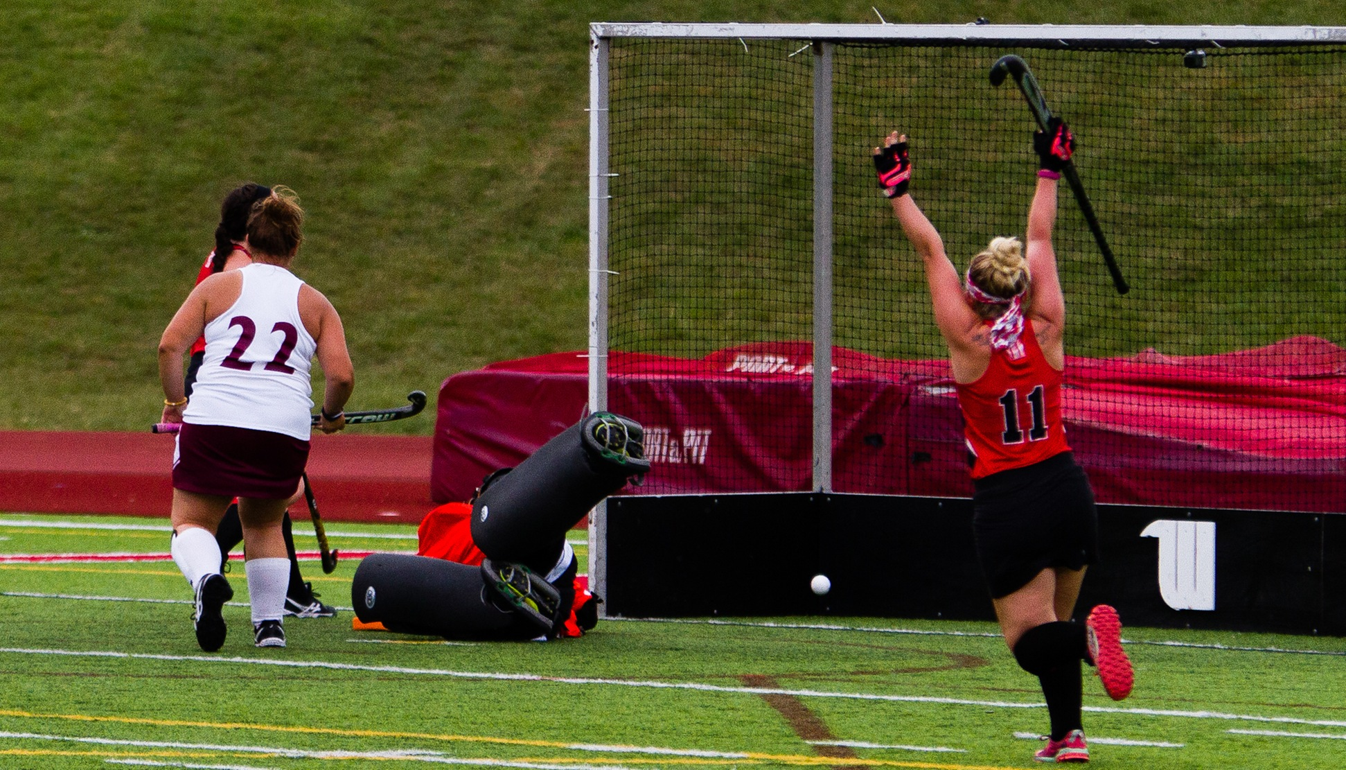 Junior Kayla Cull celebrates her game-winning goal in the Tigers' 3-2 win over Earlham - (Photo Courtesy of Trent Sprague '22)