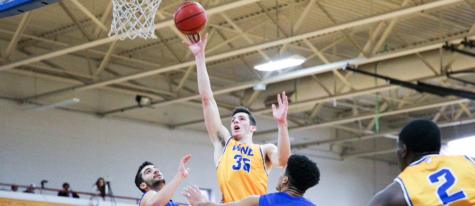 Freshman forward Zach Tavitian posted his first career double-double (29 points, ten rebounds) in Western New England's 102-86 loss at UNE on Saturday (Photo by Chris Marion).