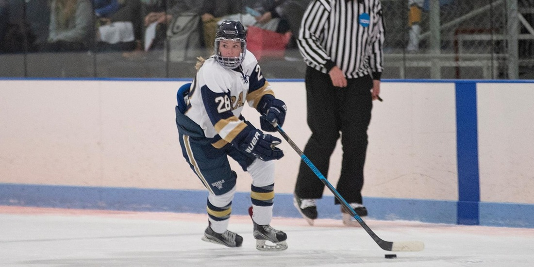 Adams Nets 100th Point, Women's Hockey Falls at Becker, 3-1