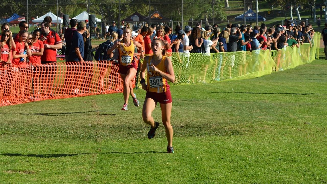 Isabella Brusco in action, approaching the finish line at the Biola Invitational
