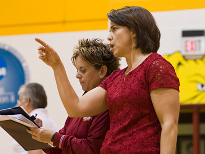 The FSU coaching staff will be directing volleyball youth training clinincs starting in mid-January 2011.  (Photo by Ben Amato)
