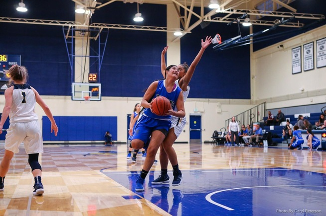 Serene Rendon scores two of her 24 points against Fullerton College