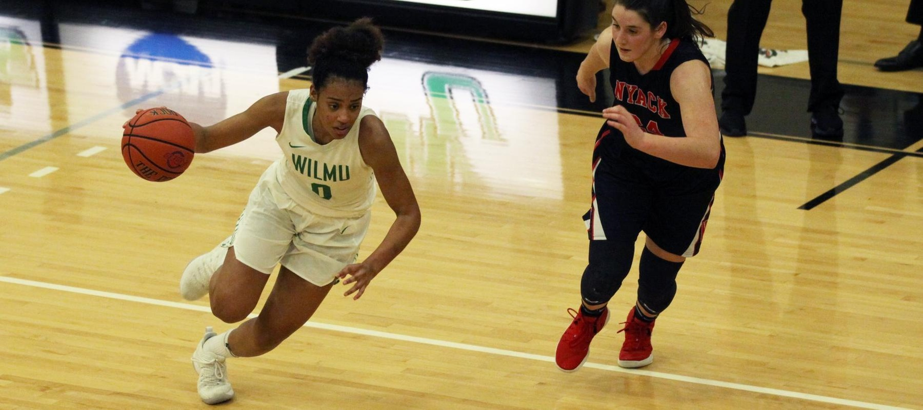 Copyright 2019; Wilmington University. All rights reserved. Photo of Jadyn Whitsitt who scored 18 points against Nyack. Photo by Dan Lauletta. January 5, 2019 vs. Nyack College.