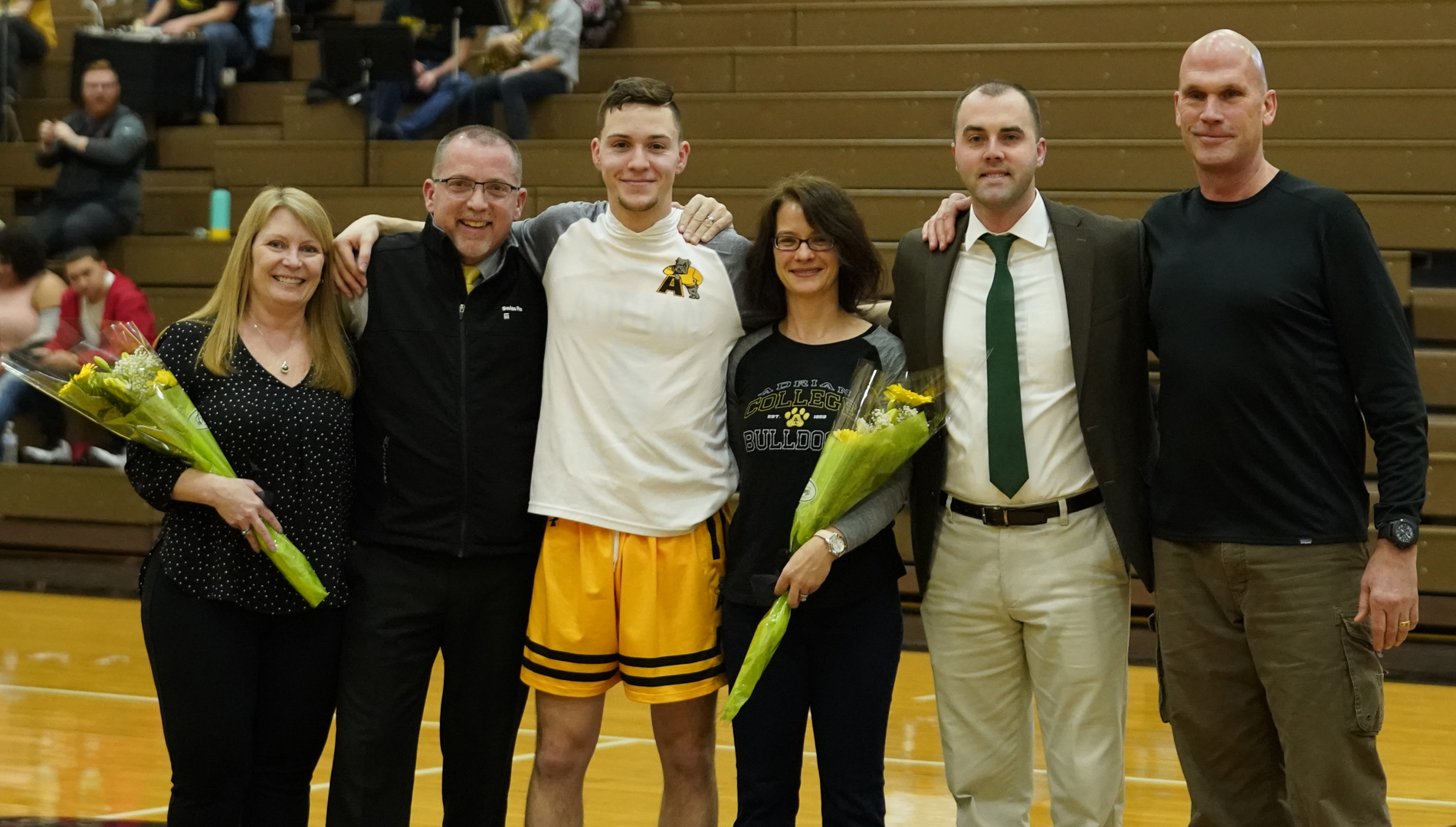 Senior Andrew Landini was recognized prior to Saturday's win over Kalamazoo. Landini started the game and finished with two points in his final game as a Bulldog (Photo by Mike Dickie).