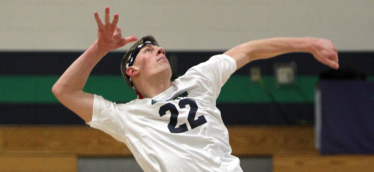 Men's Volleyball Sweeps Lesley Behind Balanced Effort