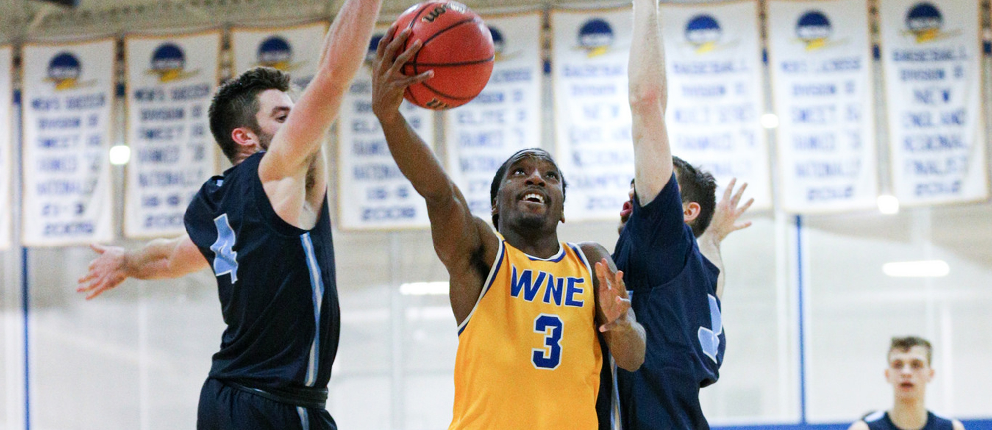 Mikey Pettway scored a team-high 16 points in Western New England's 77-70 loss to Salve Regina on Thursday. (Photo by Chris Marion)