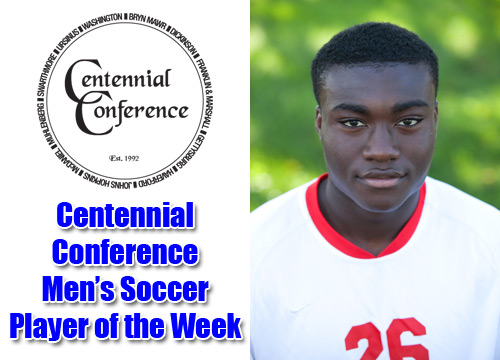 First-year Alfred Hylton-Dei was named the Centennial Conference men's soccer Offensive Player of the Week, recording two goals and three assists against Gwynedd-Mercy<BR>
