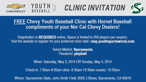 REMINDER: FREE CHEVY YOUTH BASEBALL CLINIC ON CAMPUS THIS WEEKEND