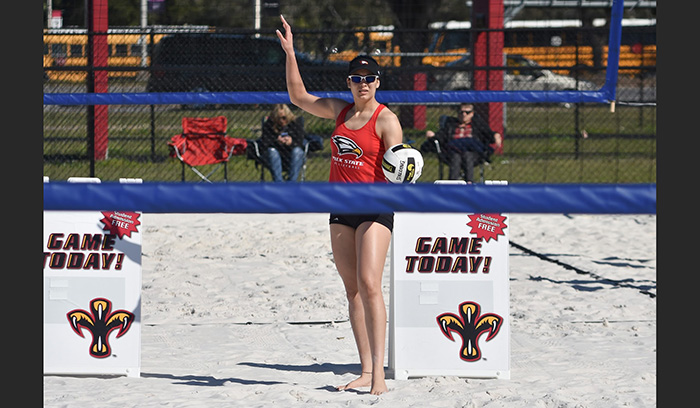 Competing on sand gave the Eagles a chance to sharpen their skills this spring. (Photo by Tom Hagerty, Polk State.)