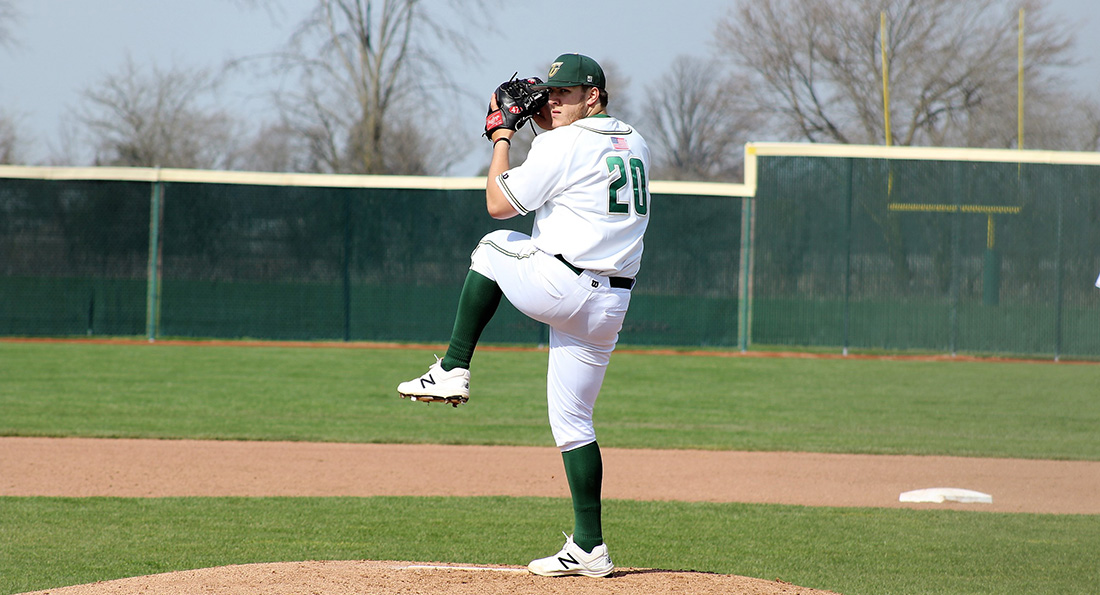 Jake Monnin earned his first victory on the hill for Tiffin, tossing six shutout innings in the Dragons' 7-0 win.