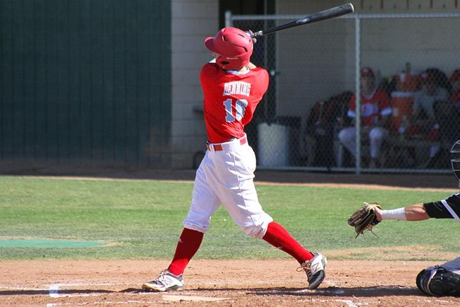 Connor Denning went 2-4 Tuesday afternoon in #3 Mesa's victory over Chandler-Gilbert. (Photo by Aaron Webster)