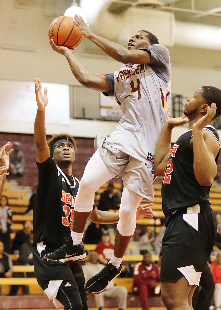 Giovonni Jackson goes up for the basket during the Lancers home loss to Long Beach City College on Wednesday night, photo by Richard Quinton.