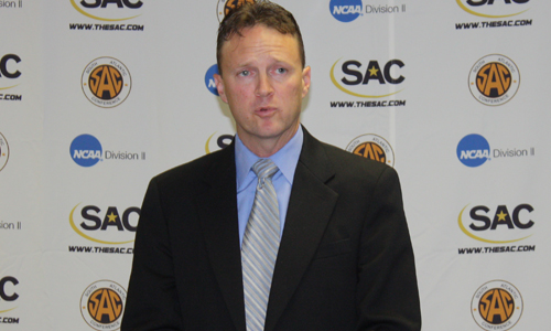 Head Coach Michael Jones speaks at the SAC Media Day.