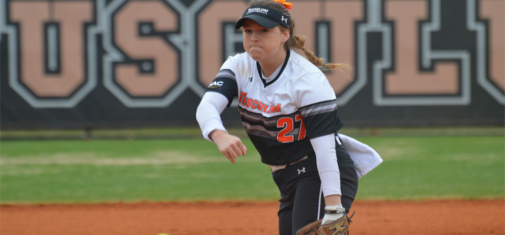 Allison Pate pitched a one-hit shutout over five innings in Tusculum's 8-0 win over Converse