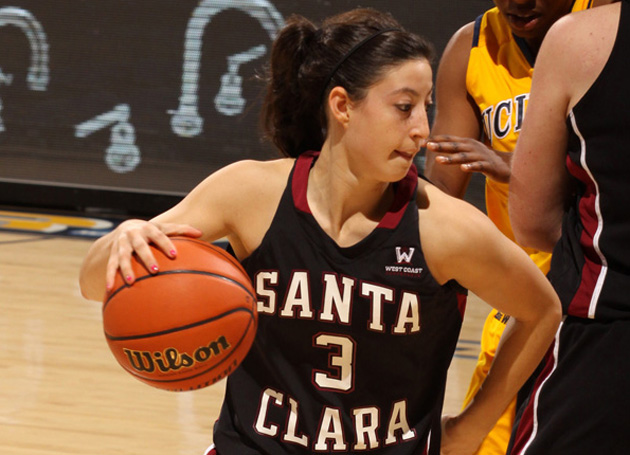 Santa Clara's Meagan Fulps drives to the basket Saturday against UC Irvine. (Glenn - Karen Feingerts Photo)