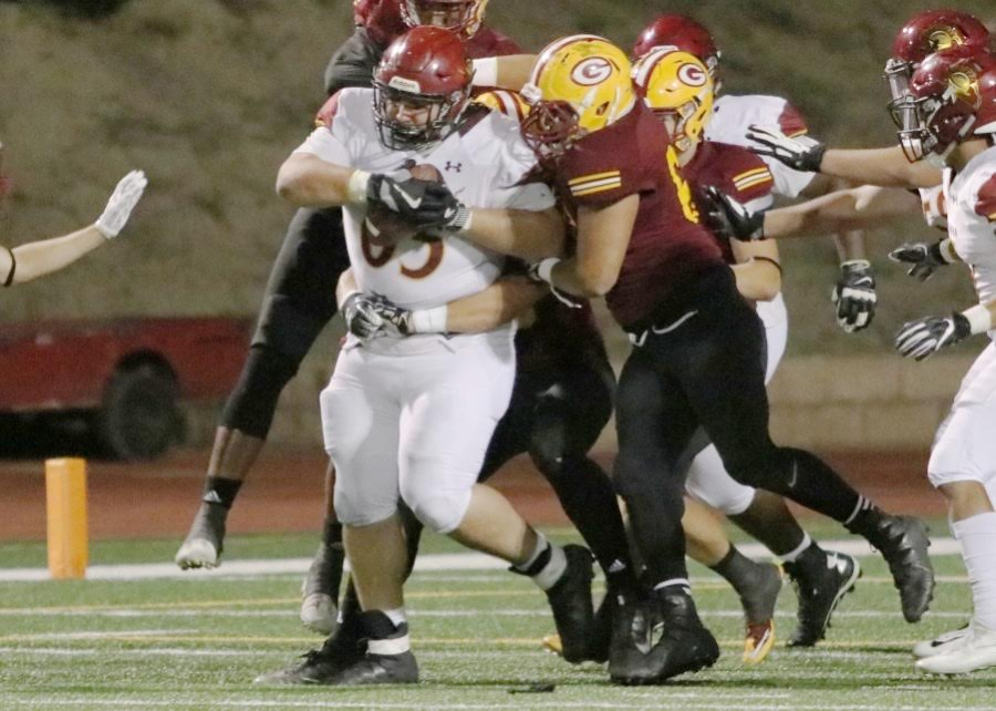 Lancers offensive lineman Juan Perez picked up a loose ball and kept on going during PCC's loss v. Saddleback at Mission Viejo High School Saturday evening, photo by Richard Quinton.