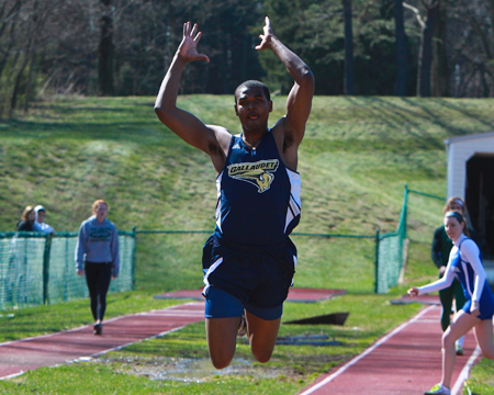 Flowers wins triple jump at CAC Men's Track and Field Championship