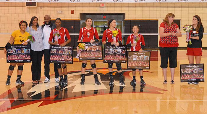 Polk State sophomores receive recognition before tonight's match, which the Eagles won in three straight games. (Photo by Tom Hagerty, Polk State.)