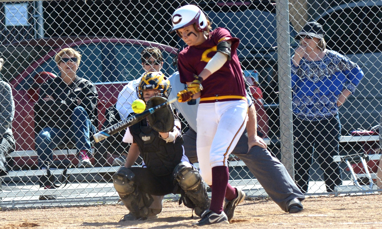 Sophomore Mackenzie McCloud connects on one of her two doubles in Game 2 of the Cobbers' DH with Gustavus.