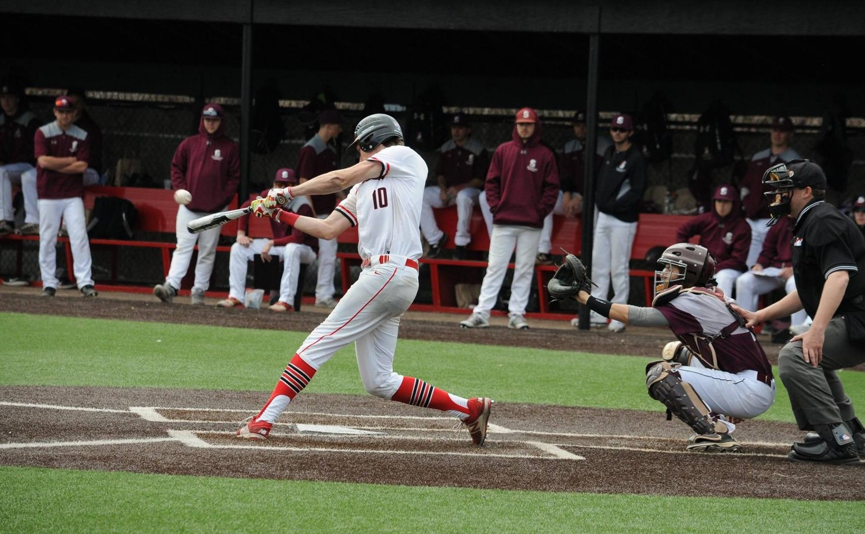 Baseball Splits With Springfield on Senior Day