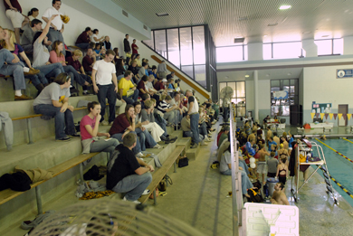 Fans gather in the stands for a SU meet