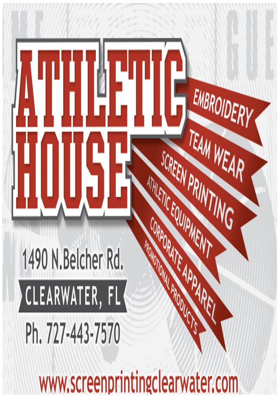 Athletic House. - Embroidery - Team Wear - Screen Printing - Athletic Equipment - Corporate Apparel - Promotional Products. 1490 N. Belcher Rd. Clearwater, FL 727-443-7570
