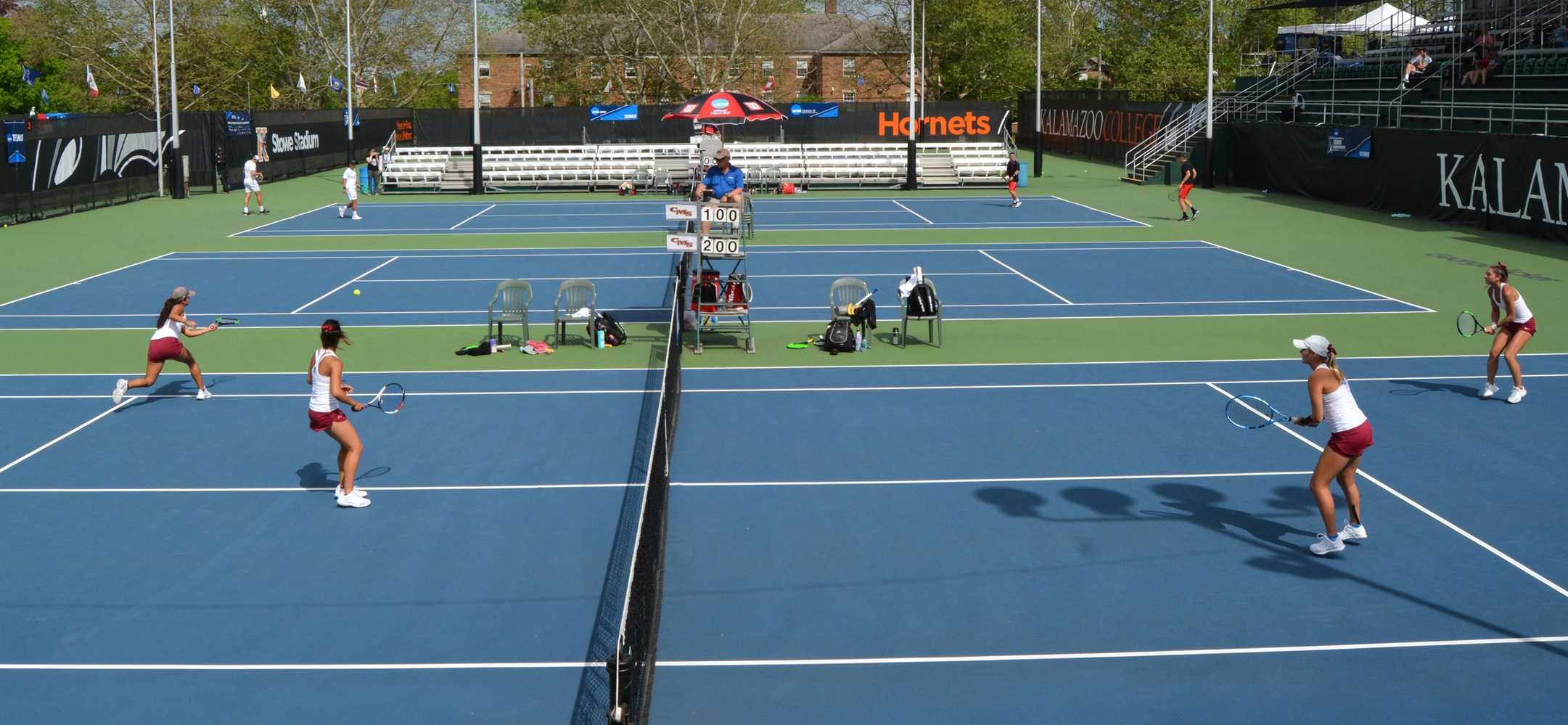 Caroline Cox and Catherine Allen (right) face Nicole Tan and Sarah Bahsoun (left) in the NCAA Doubles Championship
