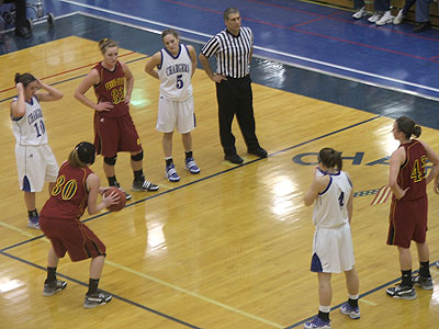 FSU junior Amy Joostberns steps to the free throw line in Saturday's game (Photo by Rob Bentley)