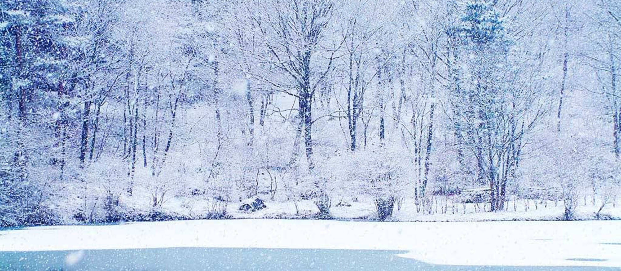 Snow covered image of a lake in winter time.