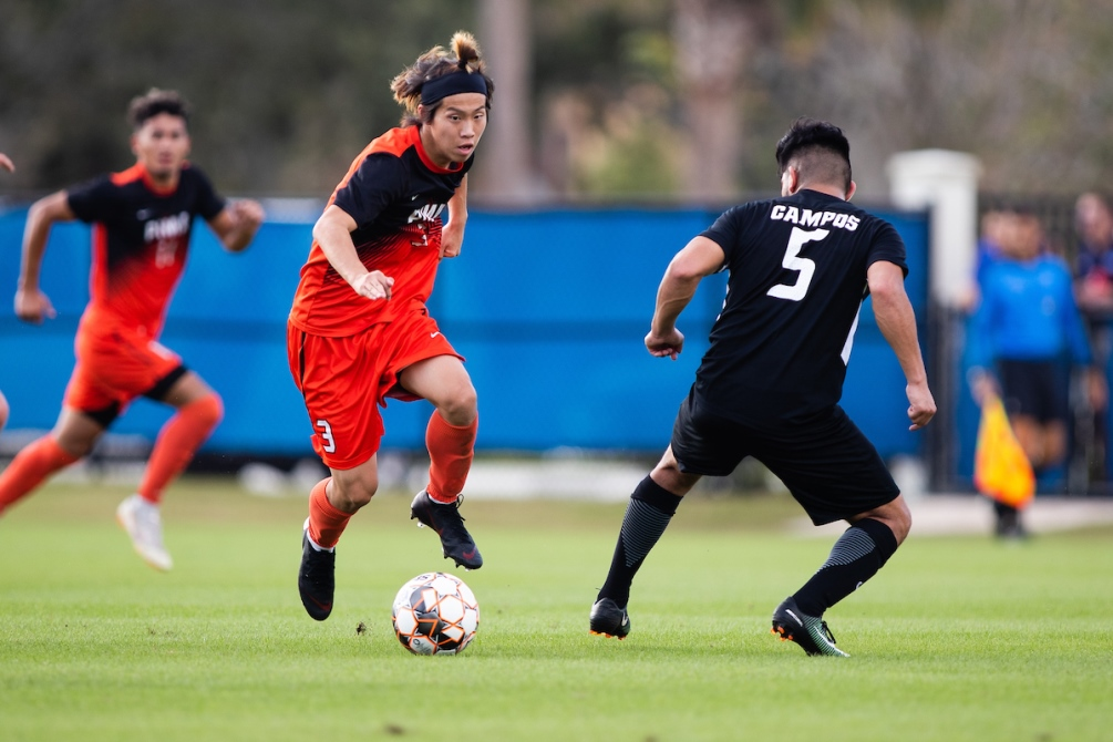 Freshman Itsuki Ishihara scored a hat trick as the No. 1 seeded Aztecs men's soccer team shut out No. 12 Muskegon Community College 5-0 to open the NJCAA Division I Tournament. The Aztecs play on Wednesday with a chance to advance to the semifinal round. Photo by James Gilbert/Daytona State College